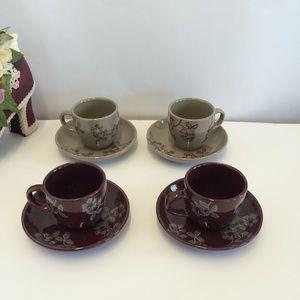 4 Gorgeous Demitasse Cup & Saucer Set